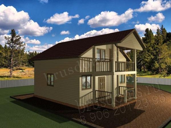 Проект Д-41. Дом из бруса 8x6 с крыльцом и балконом