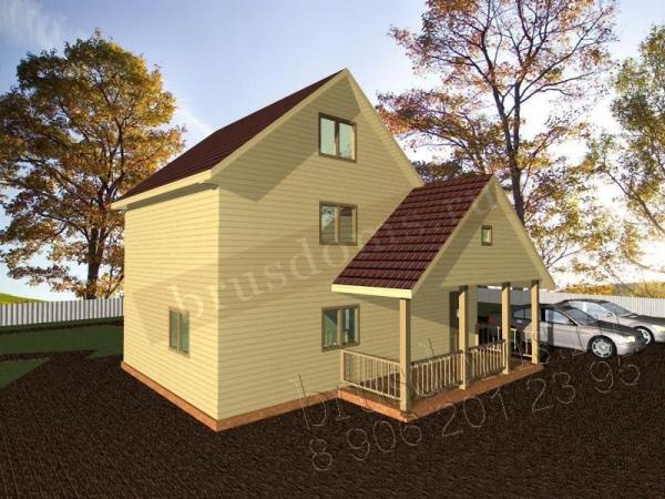 Проект Д-43. Загородный 2-х этажный дом из бруса 8x9