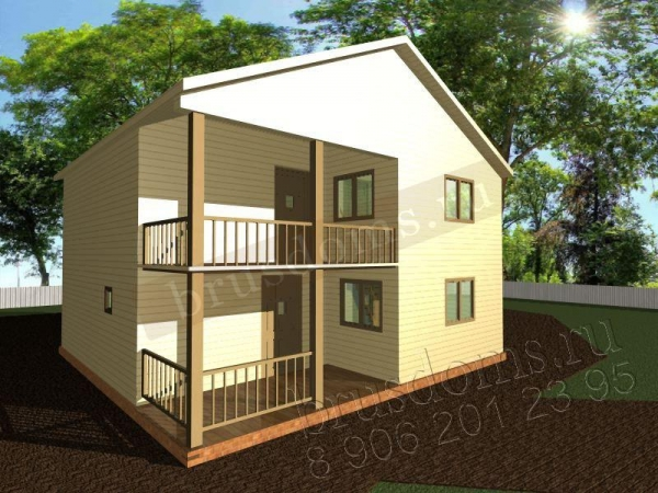 Проект Д-44. Деревянный дом 8x8