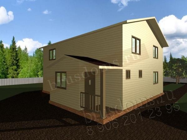Проект Д-46. 2-х этажный дом из бруса 9x8.5 с крылечком и тамбуром