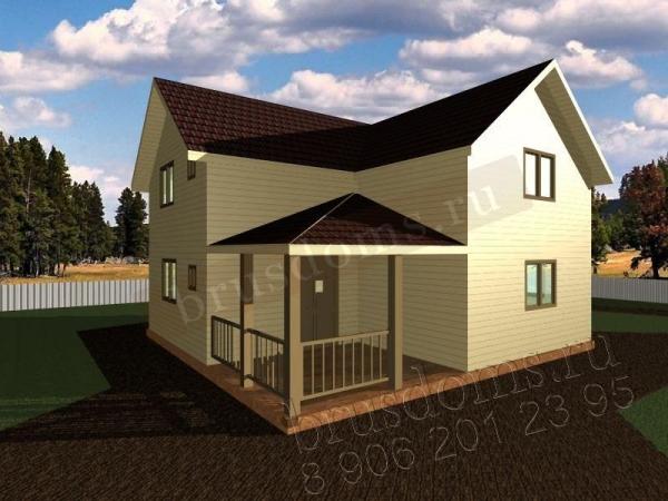 Проект Д-47. Двухэтажный дом из бруса 8x7.5