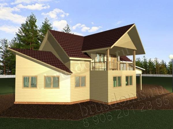 Проект Д-51. Большой загородный дом из бруса 14x8