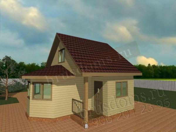 Проект Д-11. Дачный домик 6x6 с крылечком и эркером