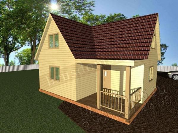 Проект Д-12. Дом из бруса 6x7 для небольшой семьи