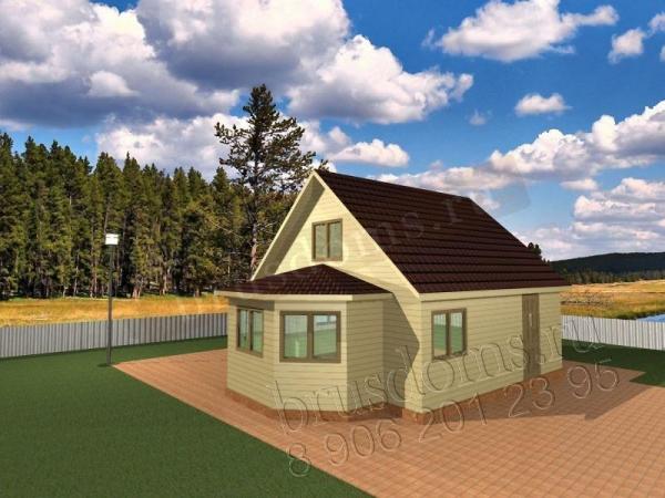 Проект Д-15. Дом из бруса 6x8 с мансардным этажем и эркером