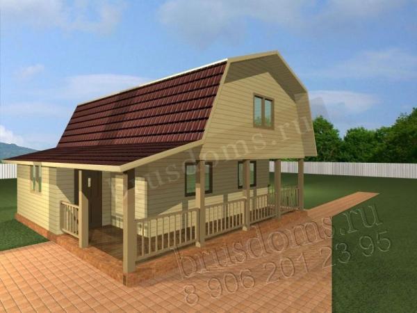 Проект Д-19. Дом из бруса 7.5x7.5 с тамбуром и большой террасой