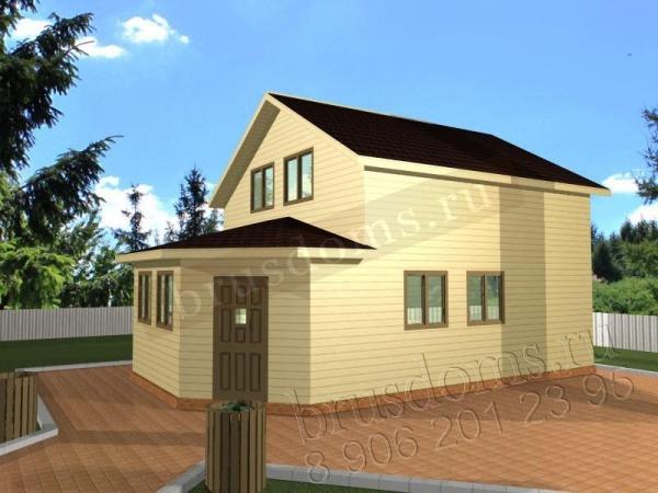 Проект Д-20. Двухэтажный дом из бруса 8 на 6