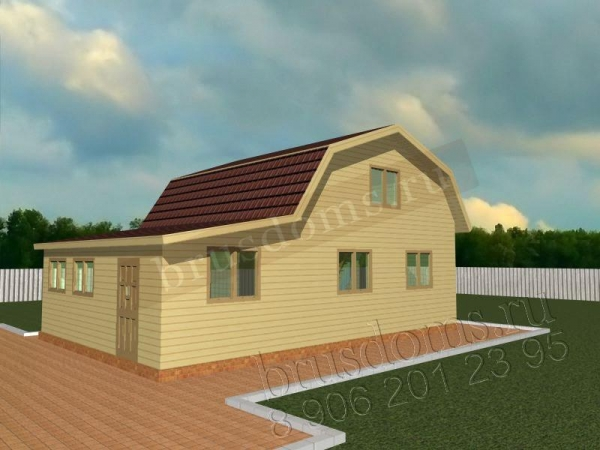 Проект Д-21. Дом из бруса 6x9 с закрытой террасой и мансардой