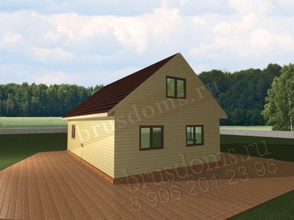 Проект Д-26. Просторный брусовый дом 9x8.5