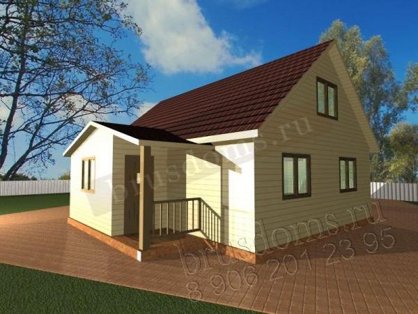 Проект Д-28. Дом из бруса 8x7.5 с тамбуром и мансардой