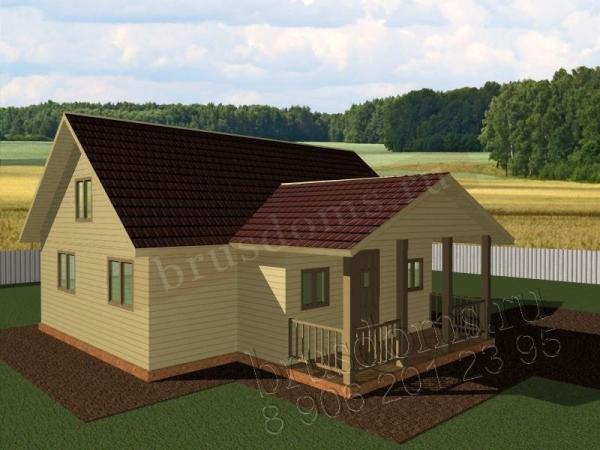 Проект Д-30. Одноэтажный дом из бруса 9x9
