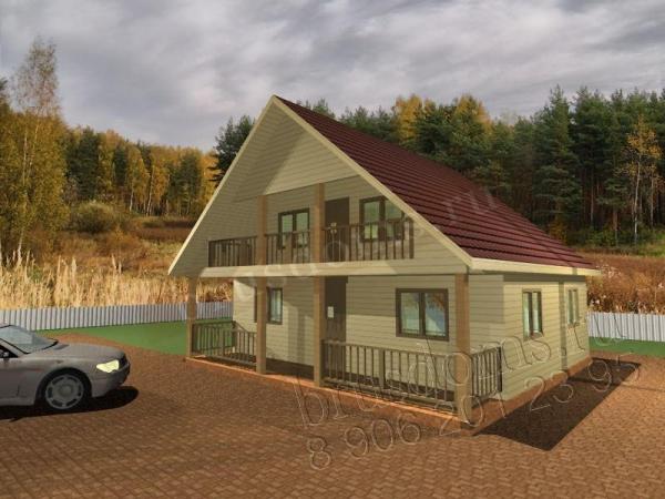 Проект Д-32. Дом из бруса 8x7.5 с лоджией и террасой
