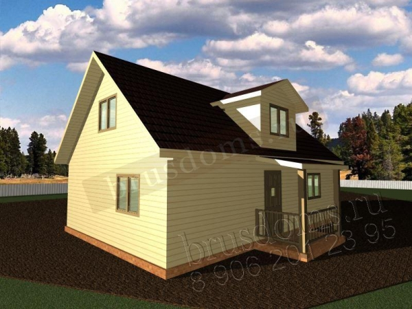 Проект Д-34. Большой дом из бруса 9x7.5 с крылечком