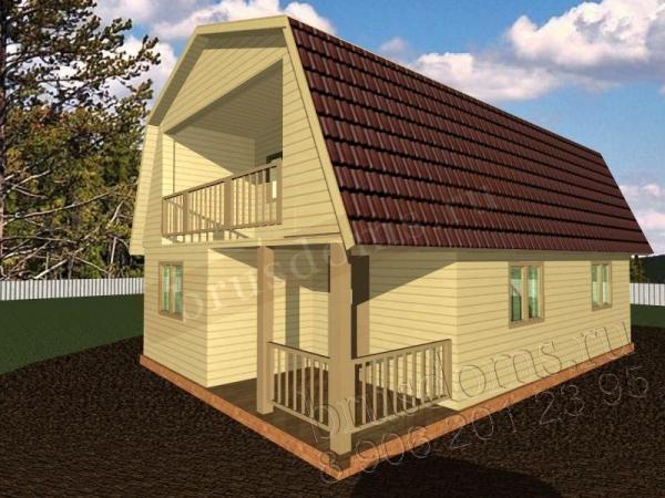 Проект Д-36. Дачный дом из бруса 9 на 6 с балконом