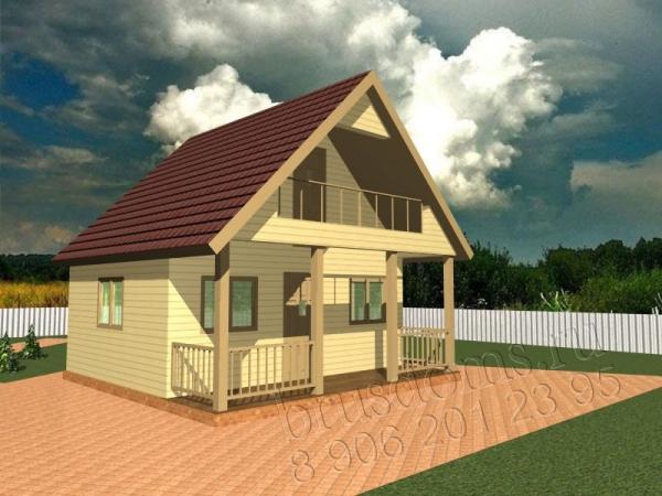 Проект Д-4. Садовый дом 6x6 с террасой и лоджией
