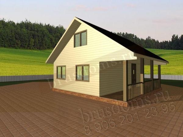 Проект Д-6. Дачный дом из бруса 6x6 с открытой террасой