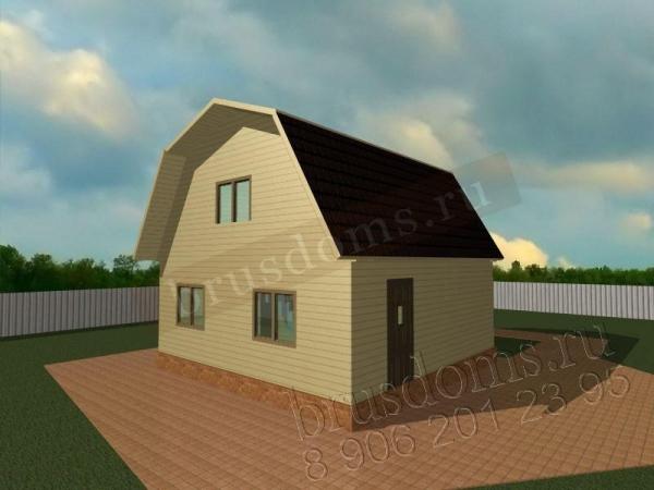 Проект Д-7. Брусовый дом 6x6 с ломаной крышей