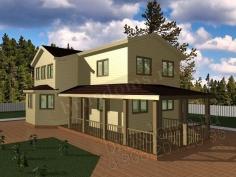 Проект Д-45. Большой загородный дом из бруса 7x12