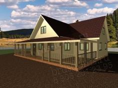 Проект Д-54. Дом из бруса 12x10.5 с огромной террасой