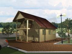 Проект Б-16. Баня из бруса 7.5x6 с мансардой и балконом