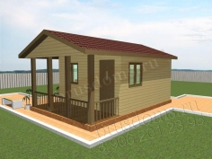 Проект Б-9. Деревянная баня из бруса 6x4
