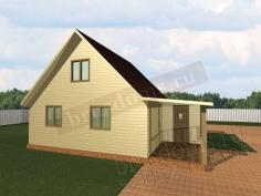 Проект Д-14. Дачный дом из бруса 6x8 с небольшой террасой