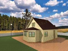 Проект Д-16. Дом из бруса 8x6 с эркером