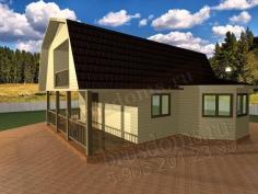 Проект Д-17. Дом из бруса 8x8 с террасой, балконом и эркером