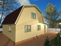 Проект Д-18. Деревянный дом 7x8 с мансардой