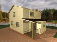 Проект Д-22. 2-х этажный дом из бруса 6x8 с террасой и тамбуром