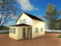 Проект Д-23. Двухэтажный дом из бруса 8.5x6 с закрытой террасой