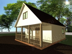 Проект Д-25. Дом из бруса 8 на 6 с открытой террасой
