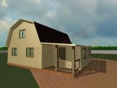 Проект Д-27. Дом из бруса 9x7 с тамбуром и мансардой