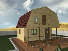Проект Д-5. Дом из бруса 6x6 с балконом и открытой террасой