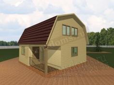 Проект Д-8. Дом из бруса 6x6 с террасой и тамбуром