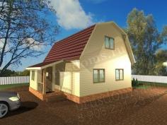 Проект Д-9. Дом из бруса 6x7.5 с крылечком и тамбуром
